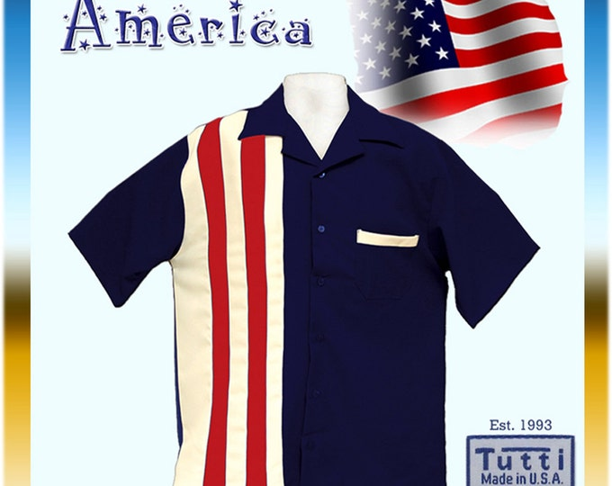 Bowling Style Shirts - Free Shipping - US Flag Bowling Style Shirts - American Flag Shirts - Red, White and Blue