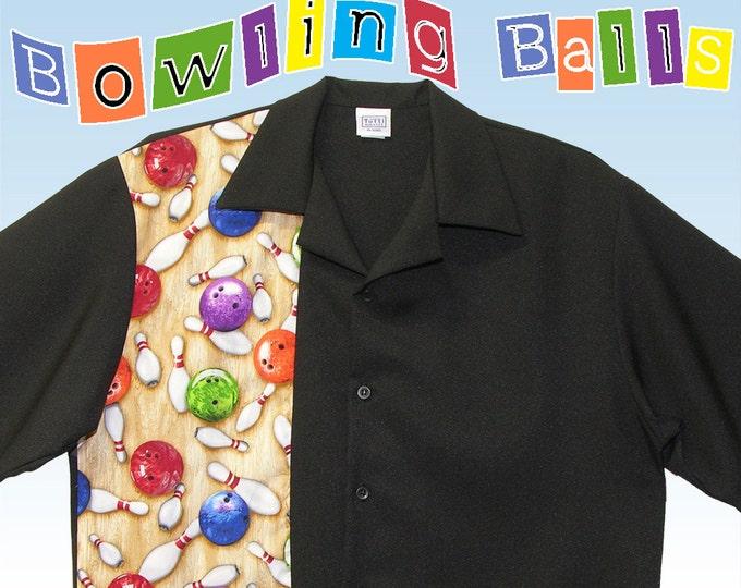 Bowling Shirts - Free Shipping (USA) - Bowling Pins Balls Design - Retro Style