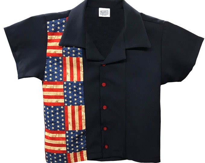 Kids Bowling Shirt - Free Shipping - Stars and Stripes American Flag Design