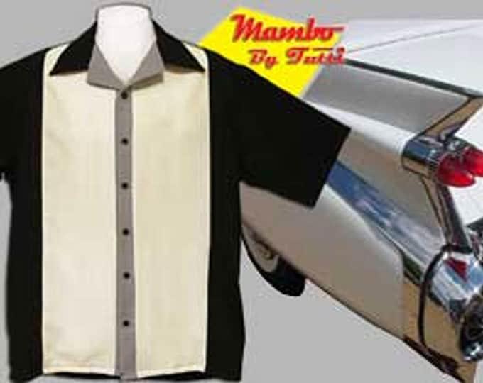 Men's Bowling Shirts - Free Shipping - Retro Style Bowling Shirts - Mambo Black and Cream