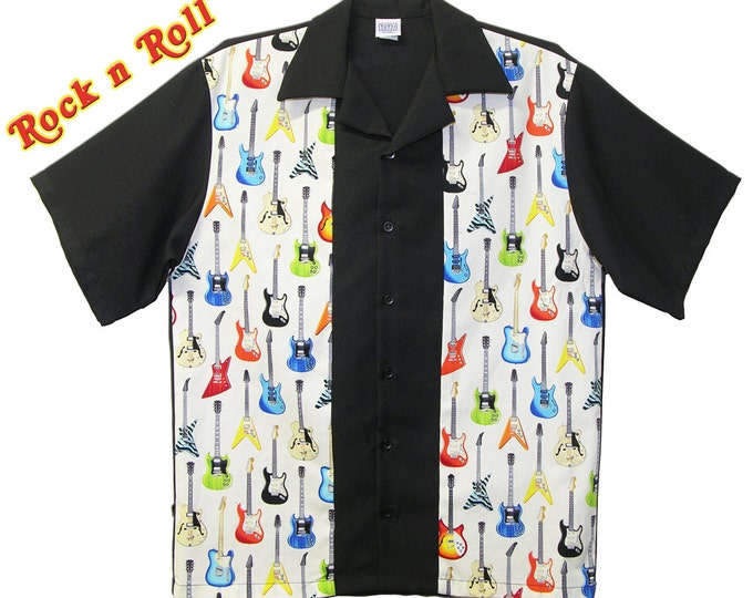 Casual Shirts - Free Shipping -Vintage Guitars Design - Retro Rockabilly Style - Cool Party Shirts - Club Wear Clothing