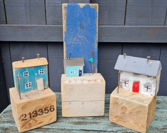 Nautical Coastal Decor, Street Reclaimed Wood, Driftwood Art Sculpture, Harbour, Wooden Gifts, Driftwood Cottages