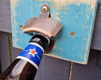 BOTTLE OPENER, Cast Iron, Wall Mounted, Reclaimed Wood, Bar, Hotel, Pub, Rustic, Drinks, Gift, Home Bar, Restaurant, Blue