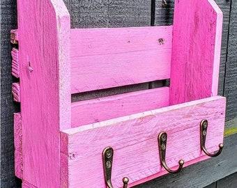 Pink Vintage Letter Key Rack 3 Hooks 25cm Holder House Storage Shabby Chic Wall Mounted, key holder for wall