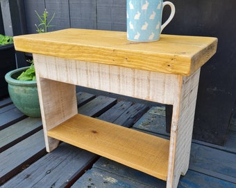 Reclaimed Scaffolding Board Top, White Legs Reclaimed Wood Side Table, Industrial Wood Hallway Bench, Coffee Table, Occasional, handmade,