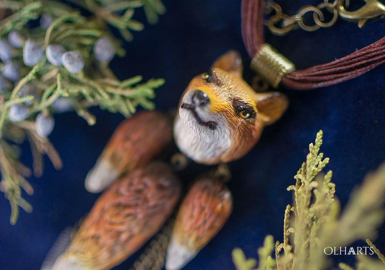 83b53f92ad2fc Fox Necklace, Polymer Clay, Shaman Talisman, Woodland Animal, Mystic  Amulet, Orange Nature, Totem Pendant, Magic Gift, Tribal Jewelry, OOAK