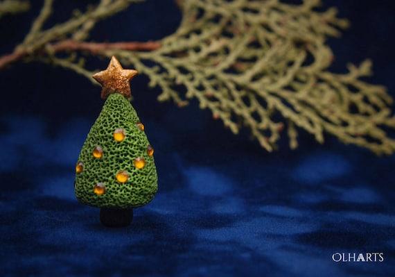 Polymer Clay Christmas Tree.Christmas Tree Brooch Polymer Clay Christmas Tree Pin X Mas Gift Winter Accessory Volumetric Broach Spruce Jewelry Green Fir Broach