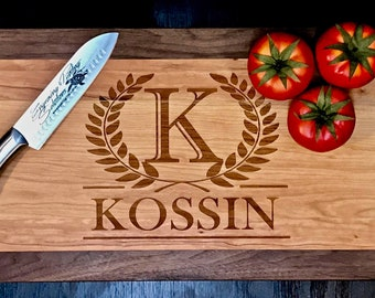 Laurel Wreath Cutting Board | Personalized Family Name Wooden Cutting Board | Different Styles Available