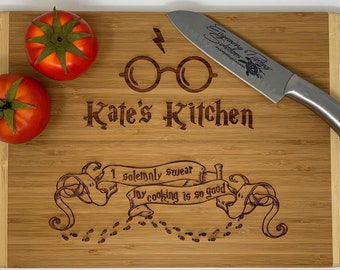Harry Potter Inspired Cutting Board | Personalized I Solemnly Swear My Cooking Is So Good Wood Cutting Board | Different Styles Available
