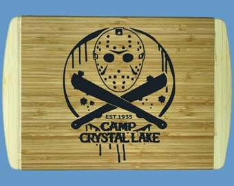 Jason Voorhees Cutting Board | Friday the 13th Inspired Bamboo Cutting Board | Classic Horror Cutting Board | Friday 13th Kitchen Item