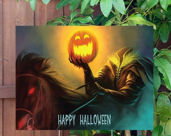 """Happy Halloween Headless Horseman Yard Sign   Large 24""""x18"""" High Quality Halloween Candy Porch Sign   Metal Stake Included"""