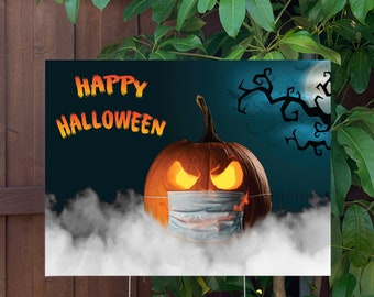 """Happy Halloween Pumpkin Yard Sign   Large 24""""x18"""" High Quality Halloween Candy Porch Sign   Metal Stake Included"""