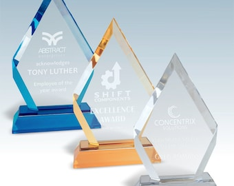 Custom Diamond Award   Personalized Frosted Base Diamond Impress Award   Customized Acrylic Award with Engraving Included