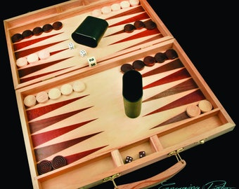 """Personalized Wood Backgammon Game Set 