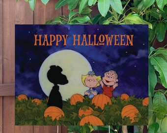 """Happy Halloween Snoopy Yard Sign   Large 24""""x18"""" High Quality Halloween Candy Porch Sign   Metal Stake Included"""