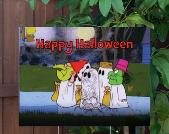 """Happy Halloween Peanuts Yard Sign   Large 24""""x18"""" High Quality Halloween Candy Porch Sign   Metal Stake Included"""