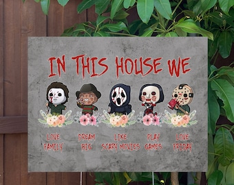"""Classic Horror Halloween Yard Sign   Large 24""""x18"""" High Quality Halloween Candy Porch Sign   Metal Stake Included"""