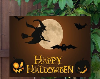 """Happy Halloween Witch Yard Sign   Large 24""""x18"""" High Quality Halloween Candy Porch Sign   Metal Stake Included"""