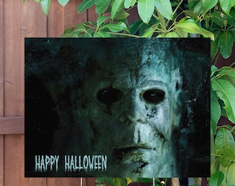"""Happy Halloween Spooky Yard Sign   Large 24""""x18"""" High Quality Halloween Candy Porch Sign   Metal Stake Included"""