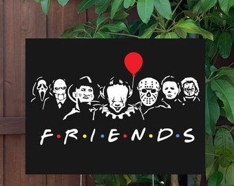 """Classic Horror Friends Halloween Yard Sign   Large 24""""x18"""" High Quality Halloween Candy Porch Sign   Metal Stake Included"""