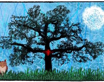 tree art print, fantasy prints, tree art, fantasy printables, nature wall art print,  art printables, printable wall art, art collage