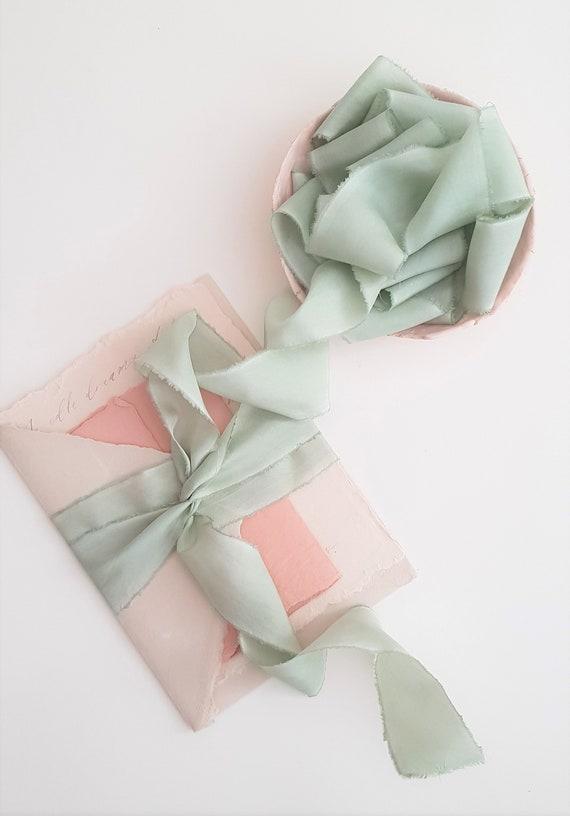 wooden spool moss green,invitation ribbon ROSEMARY habotai silk ribbon bridal bouquet hand-dyed ribbon wedding ribbon light green silk