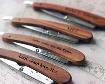 Personalised straight cut, cut throat razor, disposable blade, shaving fathers day gift, boyfriend / husband valentine gift. Custom. Wooden.