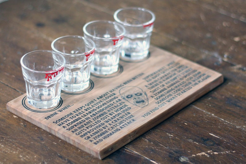 Zombie drinking game with four bloody shot glasses great for image 0