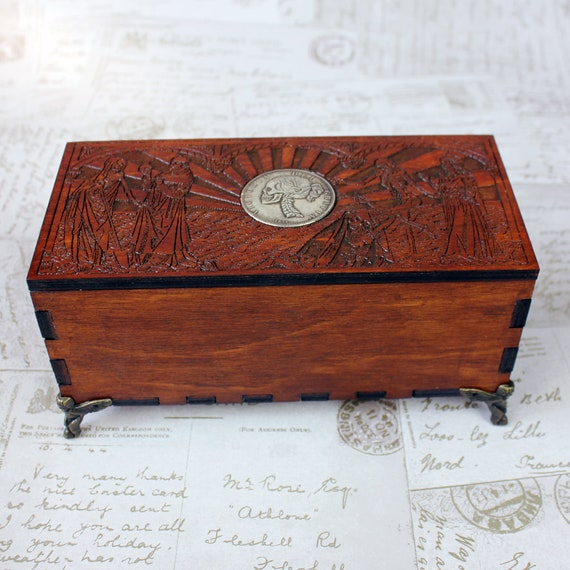 Fancy Woodcut Trinket Box With Skull Coin Design Keepsake Box Wooden Pencil Case Wooden Trinket Box Gothic Wicca Box Jewellery Box