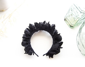 Black headpiece, hair band, flowers crown, black leaf headpiece, woman headband, hair accessory for girl or woman, black felt headpiece