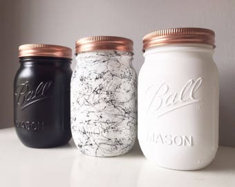 Black Marble & White Mason Ball Trio - Tea Coffee and Sugar Canisters - Makeup Organisation