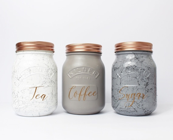 Ideal Set of 3 Marble & Grey Kilner Tea Coffee Sugar Canisters VA01