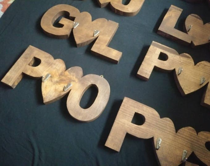 Initials heart wood keyholders