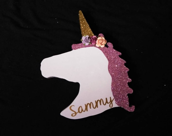 Unicorn head theme wood birthday party decorations centerpieces