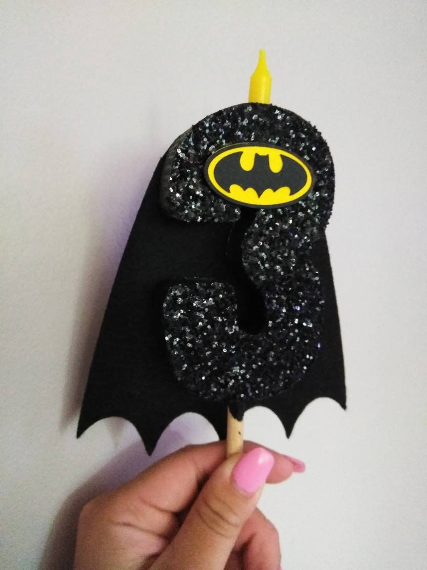 Batman Birthday Candle Girl Centerpiece Cake Topper Marvel Party Decoration