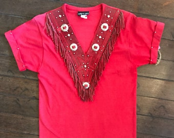 80s Red Western/Cowgirl Fringe Top with Silver Conchos & Studs