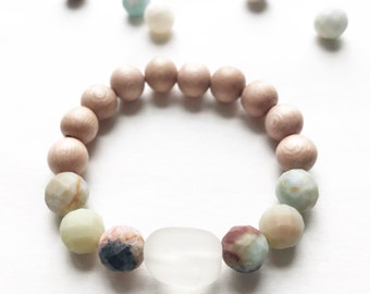 Sea Glass, Amazonite and Rosewood Bracelet