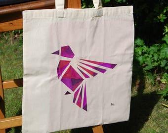 "Tote bag ""Geometrical bird"", shoulder bag, cotton bag, shopping bag - hand painted"