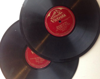Vintage Victrola records for decoration