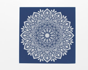 """Peacock Mandala Wall Decor - Blue with silver engraving - 2 Sizes - 10""""x10"""" & 14""""X14"""" - Leatherette/Vegan Leather"""