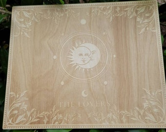 The Lovers Large Tarot Board - Wiccan Witch Altar Decor - Laser Engraved into Birch wood