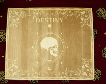 Destiny Large Tarot Board - Wiccan Witch Altar Decor - Laser Engraved into Birch wood