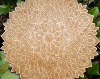 Peacock Mandala Crystal Grid - Laser Engraved into Birch wood