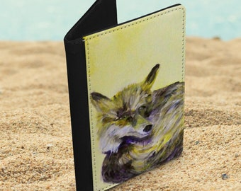 Fox faux leather passport cover, yellow wildlife passport holder, travel gift for animal lover, vegan leather travel document wallet