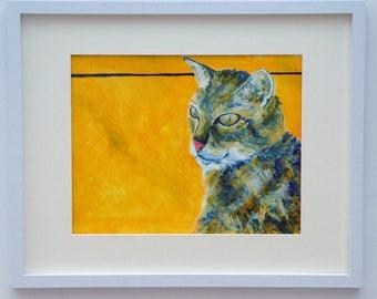 Tortoiseshell cat acrylic painting, burnt orange living room wall decor, tabby cat lover gift, large modern animal artwork