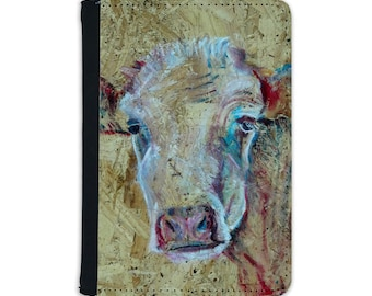 Faux leather passport holder with cow image, travel document wallet,farm animal passport folder, vegan leather travel accessory gift