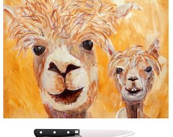 Alpacas glass chopping board, mustard yellow llamas trivet, tempered glass serving platter, kitchen worktop protector, animal cutting board
