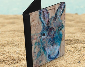 Faux leather passport cover with donkey image, farm animal passport holder, travel accessory gift, vegan leather travel document wallet