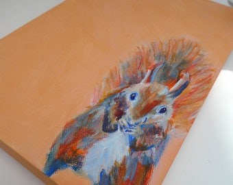 Squirrel acrylic painting, red squirrel deep canvas wall art, orange animal painting, woodland creature bedroom decor, wildlife lover gift