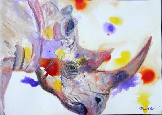 Afrikanische Nashorn Drucken Nashorn Kunst Lila Wohnzimmer | Etsy